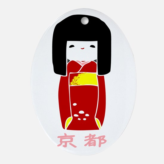 """Japanese Kyoto Doll"" Oval Ornament"