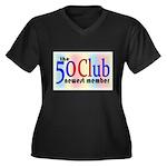 The 50 Club Women's Plus Size V-Neck Dark T-Shirt