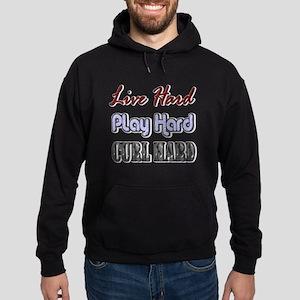 Live Hard, Play Hard, Curl Ha Hoodie (dark)