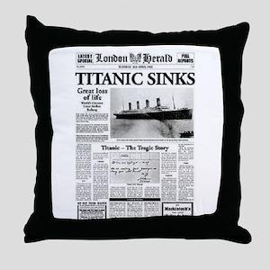 "London Herald ""Titanic SInks Throw Pillow"