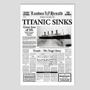 "London Herald ""Titanic SInks Postcards (Packa"