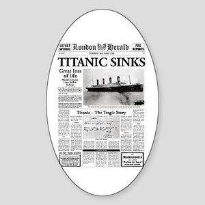 "London Herald ""Titanic SInks Oval Sticker"