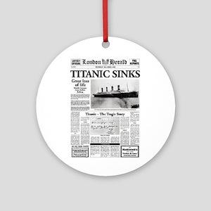 "London Herald ""Titanic SInks Ornament (Round)"