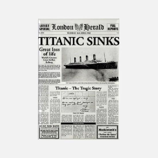 "London Herald ""Titanic SInks Rectangle Magnet"