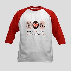 Peace Love Tri Kids Baseball Jersey