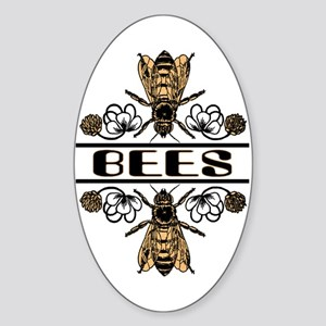 Bees With Clover Oval Sticker