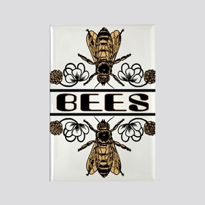 Bees With Clover Rectangle Magnet