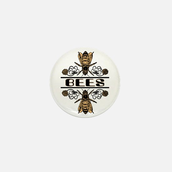Bees With Clover Mini Button