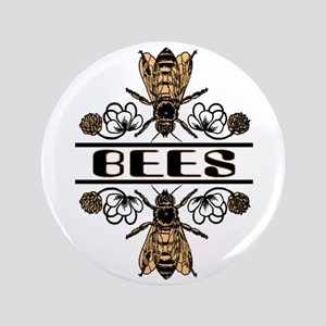 "Bees With Clover 3.5"" Button"