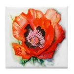 Tile Coaster with poppy
