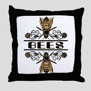 Bees With Clover Throw Pillow