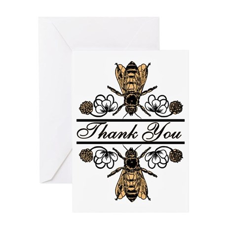 Bees With Clover Greeting Card