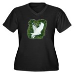 On Silent Wings: Women's Plus Size V-Neck Dark T-S