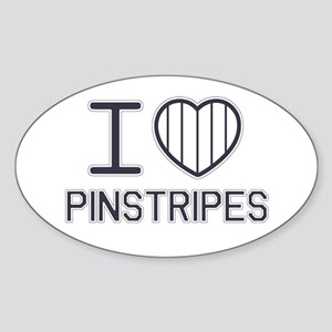 I Love Pinstripes Oval Sticker