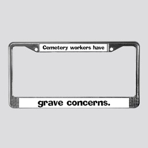 Cemetery workers have grave License Plate Frame