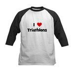 I Love Triathlons Kids Baseball Jersey