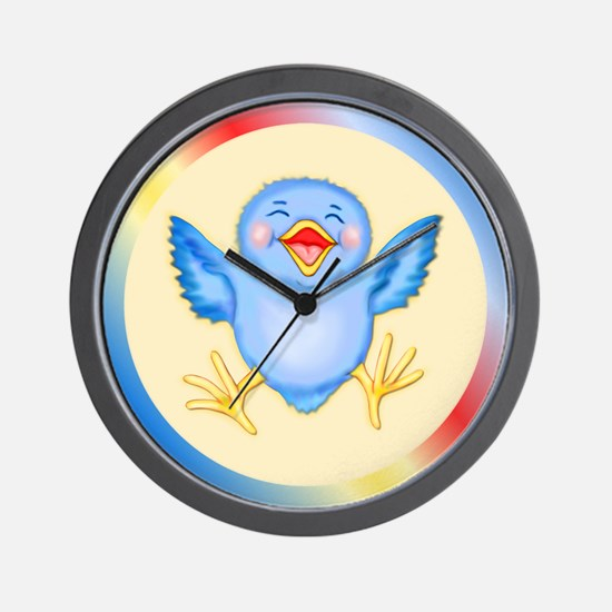 Baby Bluebird Happiness Wall Clock
