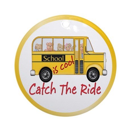School is Cool Schoolbus Ornament (Round)