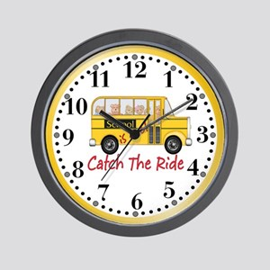 School is Cool Schoolbus Wall Clock