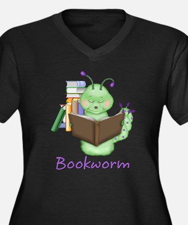 Bookworm Women's Plus Size V-Neck Dark T-Shirt