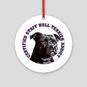 Staffordshire Bull Terrier Addict Ornament (Round)