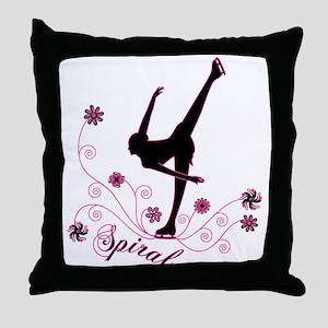 Ice Skating Spiral Throw Pillow