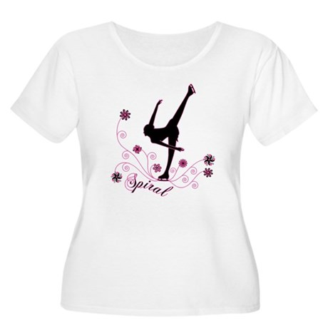 Ice Skating Spiral Women's Plus Size Scoop Neck T-