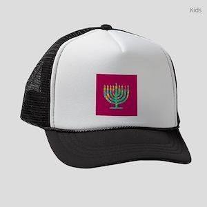 Burgundy Hanukkah Menorah 4Hannah Kids Trucker hat