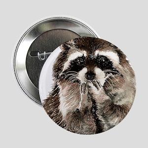 """Cute Humorous Watercolor Raccoon Blow 2.25"""" Button"""