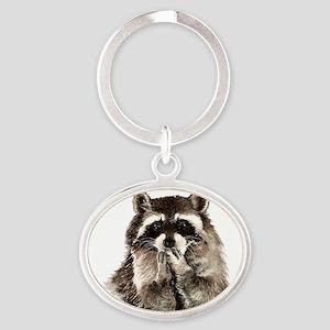 Cute Humorous Watercolor Raccoon Blowing Keychains