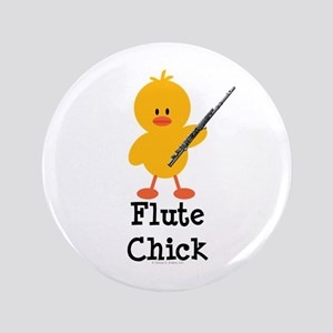 "Flute Chick 3.5"" Button"