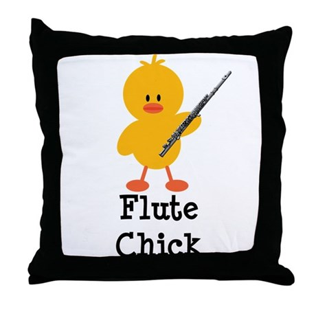 Flute Chick Throw Pillow