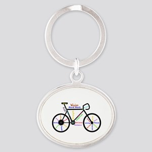 Bike made up of words to motivate Keychains
