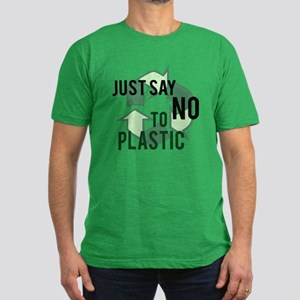 Just Say No to Plastic Men's Fitted T-Shirt (dark)