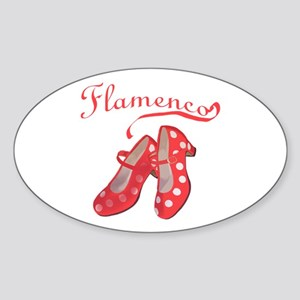 Red Flamenco Shoes Oval Sticker
