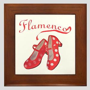 Red Flamenco Shoes Framed Tile