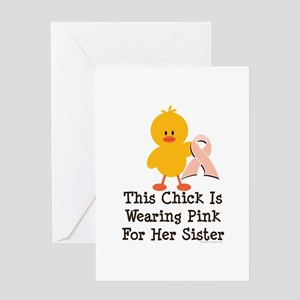 Pink Ribbon Chick For Sister Greeting Card