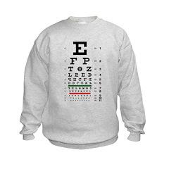 Evolving letters eye chart kids' sweatshirt
