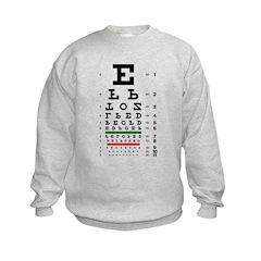 Upside-down letters eye chart kids' sweatshirt