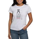 Evolving letters eye chart women's T-shirt