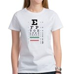 Fading letters eye chart women's T-shirt