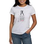 Mirror image eye chart women's T-shirt
