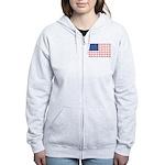 American Flag made of Snowmobiles Women's Zip Hood