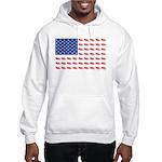American Flag made of Snowmobiles Hooded Sweatshir