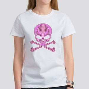 Rhinestone Skull and Crossbones Women's T-Shirt