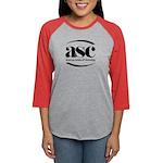 Women Baseball Tee Long Sleeve T-Shirt-Black Logo
