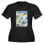 Slated Watercolor Women's Plus Size V-Neck Dark T-