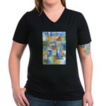 Slated Watercolor Women's V-Neck Dark T-Shirt