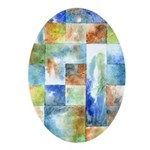 Slated Watercolor Oval Ornament