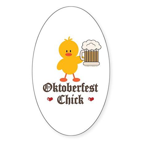 Oktoberfest Chick Oval Sticker
